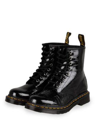 Dr. Martens 1460 Patent Lamper Biker Boots, Schwarz