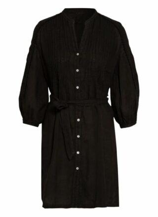 120%Lino Leinenkleid mit 3/4-Arm, Schwarz