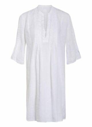 120%Lino Leinenkleid mit 3/4-Arm, Weiß
