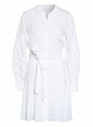 120%Lino Leinenkleid mit Lochspitze, Weiß