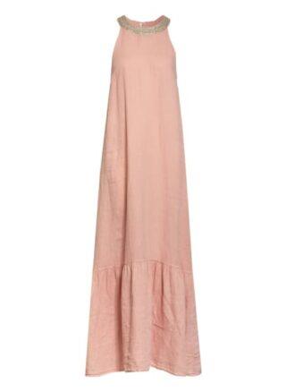 120%Lino Leinenkleid mit Schmucksteinbesatz, Pink