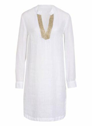 120%Lino Leinenkleid mit Schmucksteinbesatz, Weiß