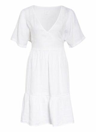 120%Lino Leinenkleid mit Spitzeneinsatz, Weiß