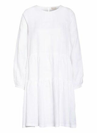 Mrs & Hugs Leinenkleid mit Rüschenbesatz, Weiß