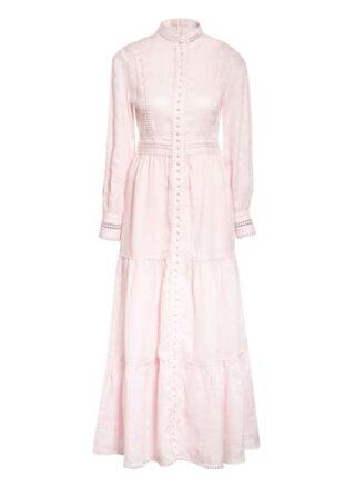 Mrs & Hugs Leinenkleid mit Spitzenbesatz, Pink
