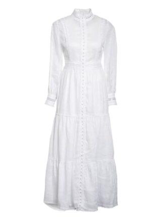Mrs & Hugs Leinenkleid mit Spitzenbesatz, Weiß