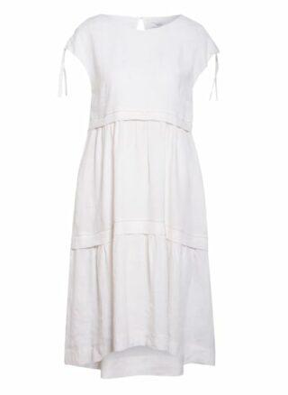 Peserico Leinenkleid mit Schmucksteinbesatz, Weiß