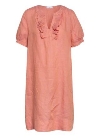 Riani Leinenkleid mit Rüschenbesatz, Pink