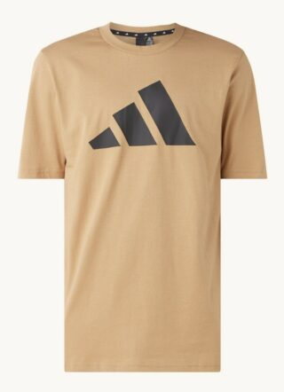 Adidas Sport T-Shirt Herren, Logoprint, Braun