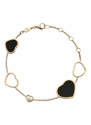 Chopard Armband Happy Hearts Armband Aus 18 Karat Roségold, Diamanten Und Onyx rosegold