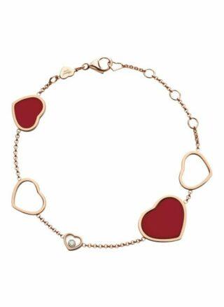 Chopard Armband Happy Hearts Armband Aus 18 Karat Roségold, Diamanten Und Roter Stein rosegold