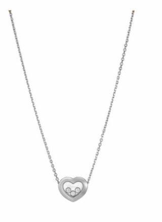 Chopard Halskette Happy Diamonds Icons Halskette Aus 18 Karat Weißgold Und Diamanten silber