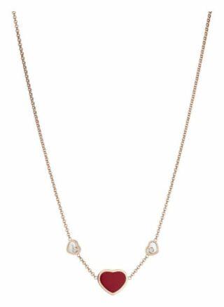 Chopard Halskette Happy Hearts Halskette Aus 18 Karat Roségold, Diamanten Und Roter Stein rosegold