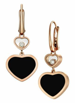Chopard Ohrring Happy Hearts Ohrringe Aus 18 Karat Roségold, Diamanten Und Onyx rosegold