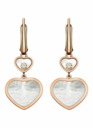 Chopard Ohrring Happy Hearts Ohrringe Aus 18 Karat Roségold, Diamanten Und Perlmutt rosegold