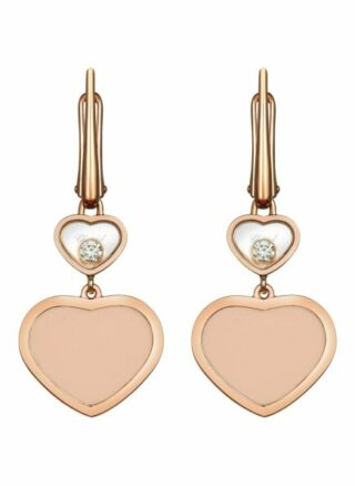 Chopard Ohrring Happy Hearts Ohrringe Aus 18 Karat Roségold, Diamanten Und Rosa Stein rosegold