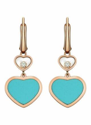 Chopard Ohrring Happy Hearts Ohrringe Aus 18 Karat Roségold, Diamanten Und Türkiser Stein rosegold