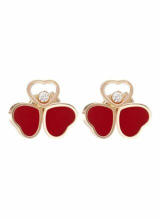 Chopard Ohrring Happy Hearts Wings Ohrringe Aus 18 Karat Roségold, Diamanten Und Roter Stein rosegold