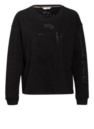 Frogbox Sweatshirt Mit Schmucksteinbesatz schwarz