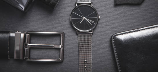 Herren Accessoires, schwarze Leder Geldbörse, Ledergürtel in Schwarz