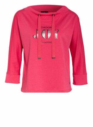 Monari Sweatshirt Mit 3/4-Arm Und Schmucksteinbesatz pink