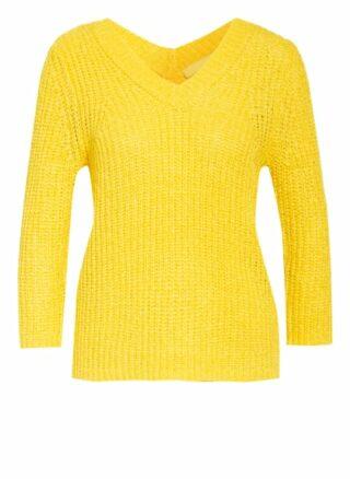Oui Pullover Mit 3/4-Arm gelb