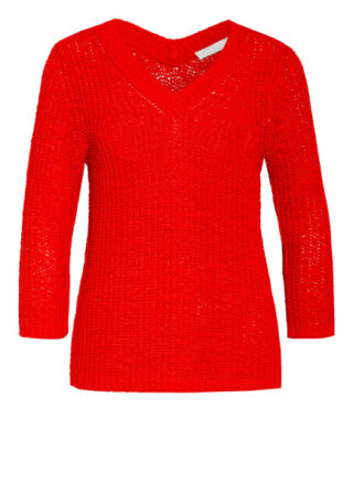 Oui Pullover Mit 3/4-Arm rot