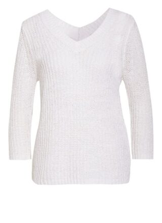 Oui Pullover Mit 3/4-Arm weiss