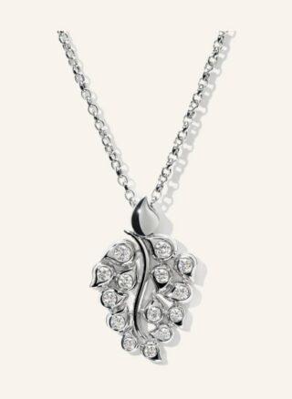 Tamara Comolli Halskette Snowflakes Leaf Aus 18 Karat Weißgold Mit Diamant Pavé silber