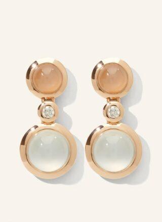 Tamara Comolli Ohrringe Bouton 2 Cabochon Camel Aus 18 Karat Roségold Mit Diamanten Und Mondtein rosegold