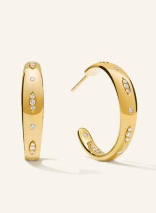 Tamara Comolli Ohrringe Gypsy Creole Large Aus 18 Karat Gelbgold Mit Diamant Pavé gold