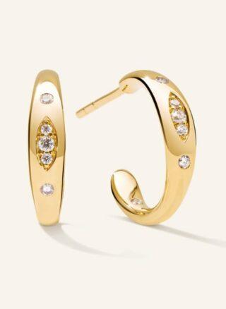 Tamara Comolli Ohrringe Gypsy Creole Small Aus 18 Karat Gelbgold Mit Diamant Pavé gold