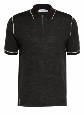 REISS Regis Strick-Poloshirt Herren, Grau