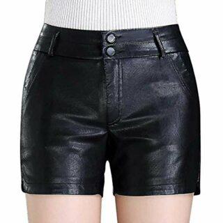 EU Fashions Damen Leder Shorts, Hotpants, Schwarz