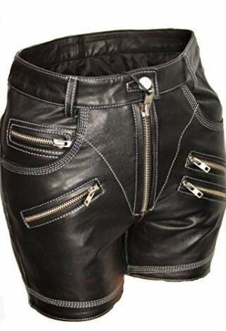 Be Noble Alpenskandal Leder Shorts Damen, Schwarz