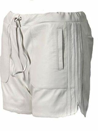 Be Noble Leder-Short Damen Sporthose, Weiss