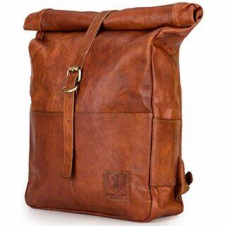 Berliner Bags Paris XL Roll-Top Lederrucksack, Braun