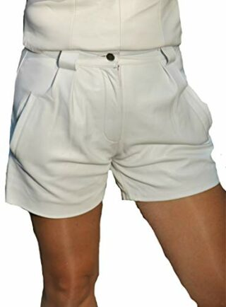 Be Noble Leder Shorts Damen Hot-Pants, Weiss