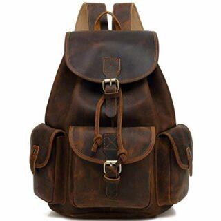 JAALD Leder Rucksack Vintage, Braun