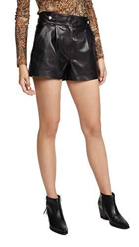 Paige Colima Leder Shorts, Schwarz
