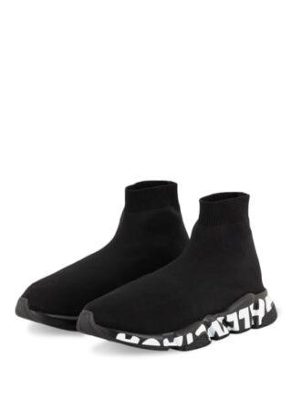 Balenciaga Speed Graffiti Hightop-Sneaker Herren, Schwarz