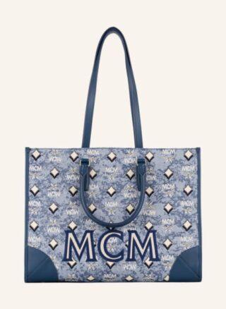 MCM Vintage Jacquard Shopper Damen, Blau