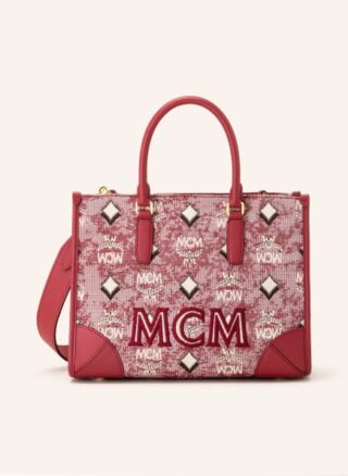 MCM Vintage Jacquard Shopper Damen, Rot