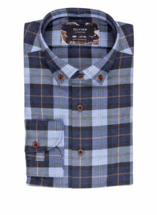 OLYMP SIGNATURE Soft Business Jerseyhemd Herren, Blau